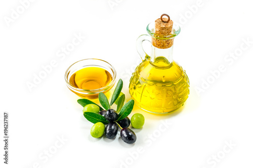 Fototapeta Organic olive oil with  olives obraz
