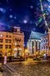 Scenic night Lviv cityscape architecture on the long exposure