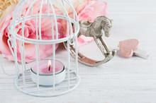 Pink Roses, Rocking Horse