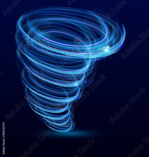 Fotografie, Obraz  Vector illustration of shining illuminated whirlwind, swirl, glowing tornado vector effect