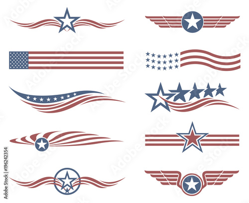 collection of USA star flag labels on white background