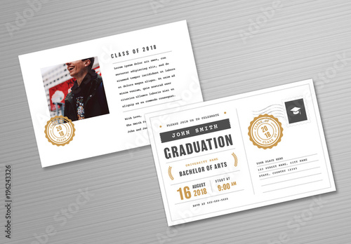 graduation invitation postcard layout with gold accents buy this