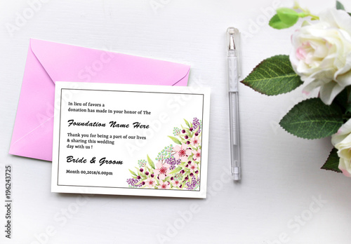 Wedding Donation Card Layout With Fl Corners 1 By Templates