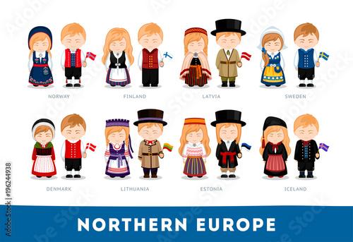 Fotografie, Obraz  Europeans in national clothes