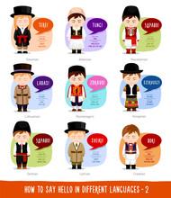 Hello In Foreign Languages: Estonian, Albanian, Lithuanian, Latvian, Macedonian, Montenegrin, Hungarian, Serbian, Croatian. Cartoon Boys With Speech Bubbles. Vector Flat Illustration.