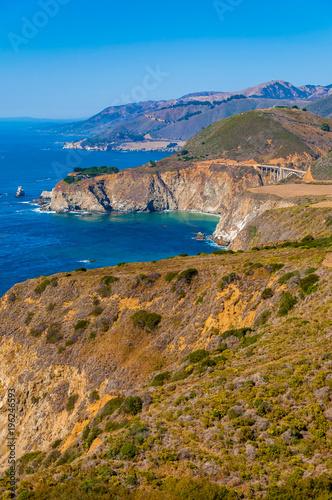 Photo  Bixby Bridge seen from the Pacific Coast Highway One