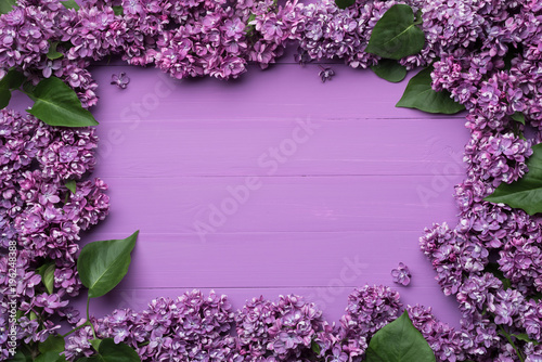 Poster de jardin Lilac Frame of lilac flowers and space for text