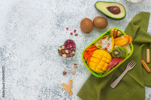 Foto op Aluminium Assortiment Lunch box on the grey background with copy space