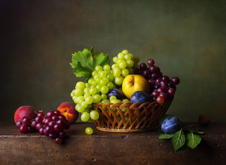 FototapetaStill life with pears, grapes and plums