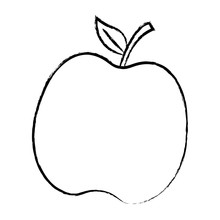 Sketch Of Apple Fruit Icon Over White Background, Vector Illustration