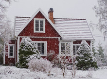 Snow Covered Red Cabin In The ...