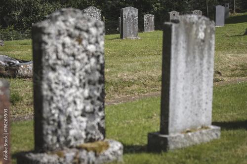 Keuken foto achterwand Begraafplaats Grave stones in graveyard, Scotland, United Kingdom.