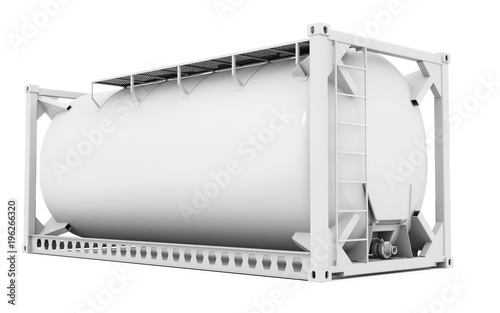 Photo 3d offshore oil tank, blank container on white background 3D illustration