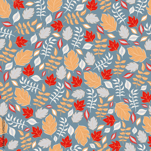 Fotografering  Decorative seamless pattern of leaves and branches.