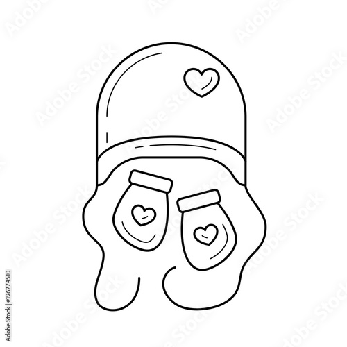d19dc375459 Newborn hat and mittens vector line icon isolated on white background.  Little mittens and hat