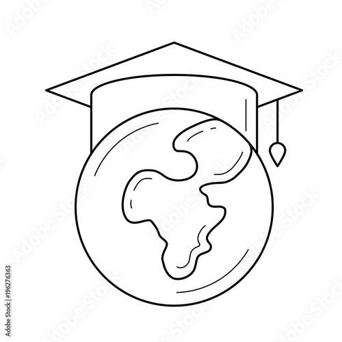 4487871606b Globe in graduation cap vector line icon isolated on white background. Graduation  hat on the world globe line icon for infographic