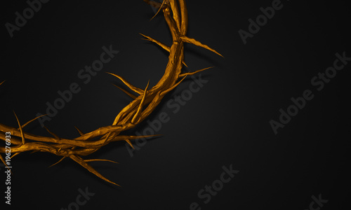Foto Close up Gold Crown of Thorns 3D Rendering Empty Space