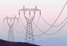 Transmission Towers Landscape Background Vector