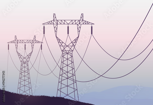 Transmission towers landscape background vector Canvas-taulu