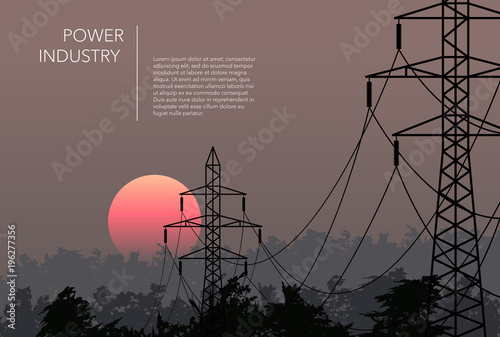 Valokuvatapetti Transmission towers landscape background vector