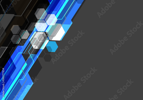 abstract blue black white polygon technology on gray blank space