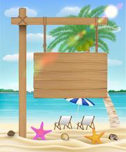 Hang Wood Board Sign On Sea Be...
