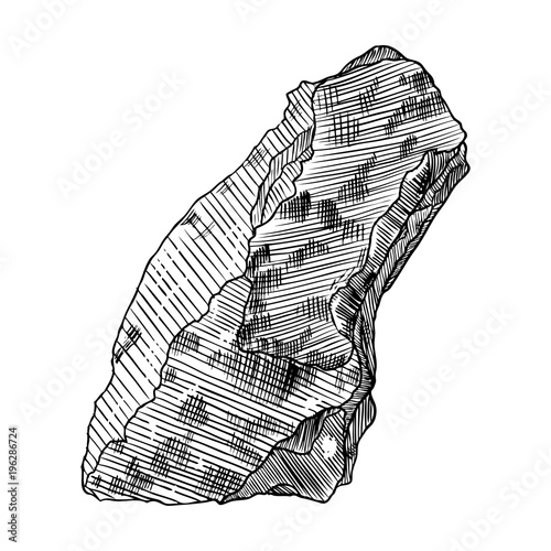 Rock stone  Black and white stone or rock in hand drawn