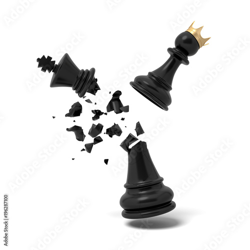 Fototapeta 3d rendering of a cracked black chess king piece breaks under a flying white pawn with a golden crown