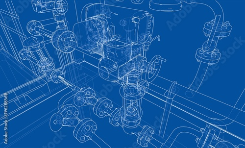 Photo  Sketch industrial equipment. Vector