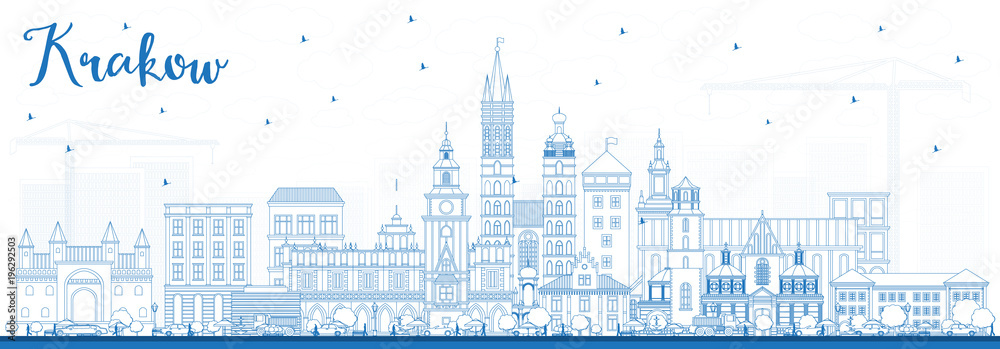 Fototapety, obrazy: Outline Krakow Poland City Skyline with Blue Buildings.
