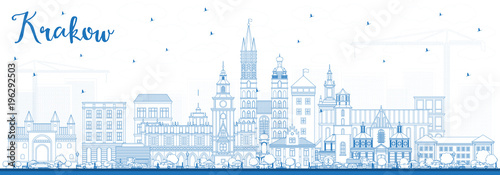 Outline Krakow Poland City Skyline with Blue Buildings.