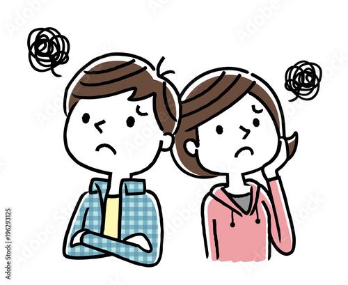 男の子と女の子:不安、心配 Wallpaper Mural