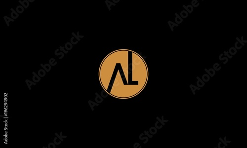 Letter AL Circle Creative Minimalist Business Logo Canvas Print