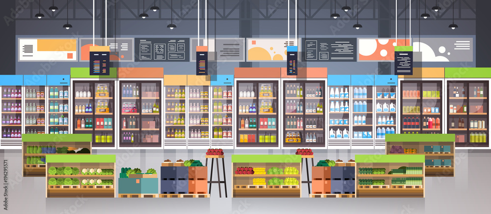Fototapeta Supermarket Aisle With Shelves, Grocery Items, Shopping, Retail And Consumerism Concept Flat Vector Illustration