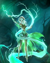 Cute Cartoon Colorful Digital Illustration Of An Elegant Elf Girl Perfoming Forest Nature Magic