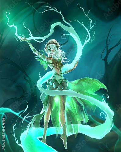 Fotografia Cute cartoon colorful digital illustration of an elegant elf girl perfoming fore