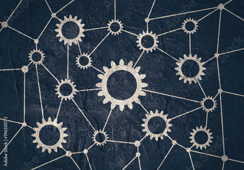Fototapeta Social media network. Growth background with lines and gears silhouettes. Connected symbols for digital, interactive and global communication concept. obraz