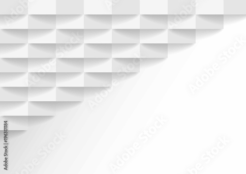 Fototapety, obrazy: abstract white and gray tone vector background, brick perspective with shadow modern concept, space for text or message web design