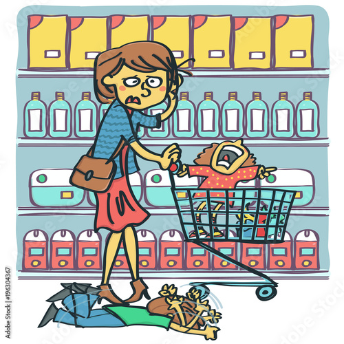 Fotografie, Obraz  Desperate and stressed woman with two raging kids screaming at shopping mall, colorful vector cartoon