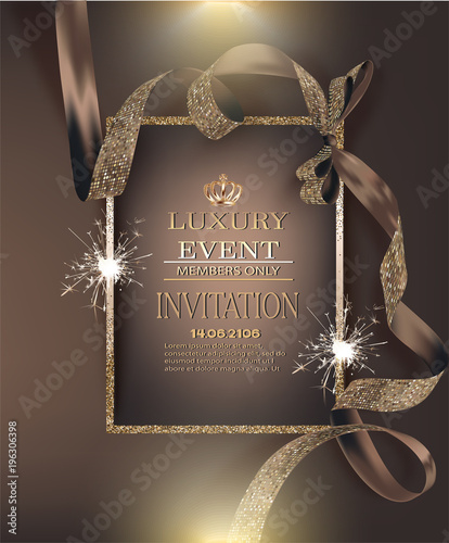 VIP invitation luxury banners with ribbons with circle
