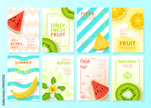 Set of fruit menu flyer design templates. Vector illustration with realistic tropical summer fruit. Brochures design for promo posters or covers in A4 format size. - 196307125