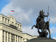Russian Flag Over The Parliame...