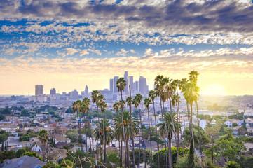 Piękny zmierzch Los Angeles śródmieścia linia horyzontu i drzewka palmowe w przedpolu
