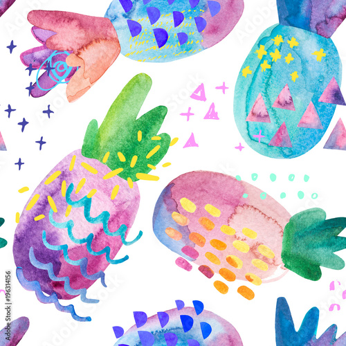Staande foto Grafische Prints Funny colorful pineapples with watercolor texture and drawing elements