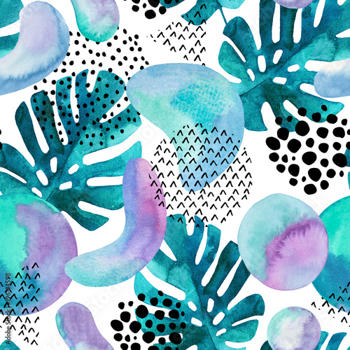 Fotobehang Grafische Prints Abstract seamless pattern with watercolor tropical leaves, geometric shapes - minimal grunge textured circle, arc, triangle.