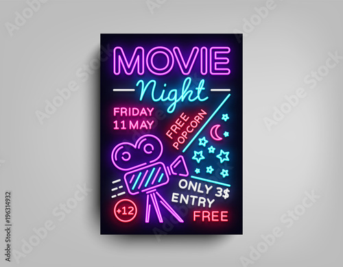 movie night poster design template in neon style neon sign light