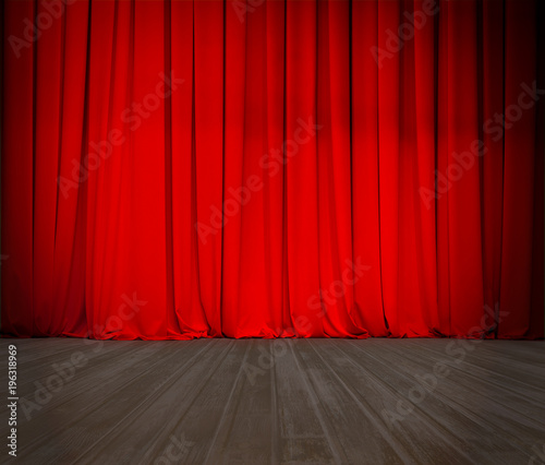 closed theater red curtain and wood stage or scene