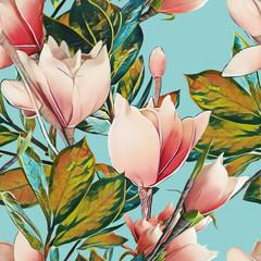 Fototapeta Popularne Magnolia seamless pattern.