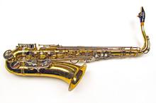 Old Golden Saxophone On White ...