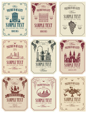 Vector Set Of Wine Labels With...